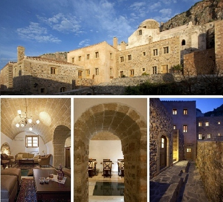 A newly built luxury hotel, built with respect to traditional architecture of the Castle of Monemvasia